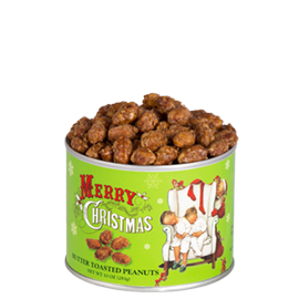 Butter Toasted Peanuts 10 oz. Can Christmas Label