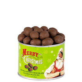 Chocolate Covered Peanuts 10 oz. Can Christmas Label